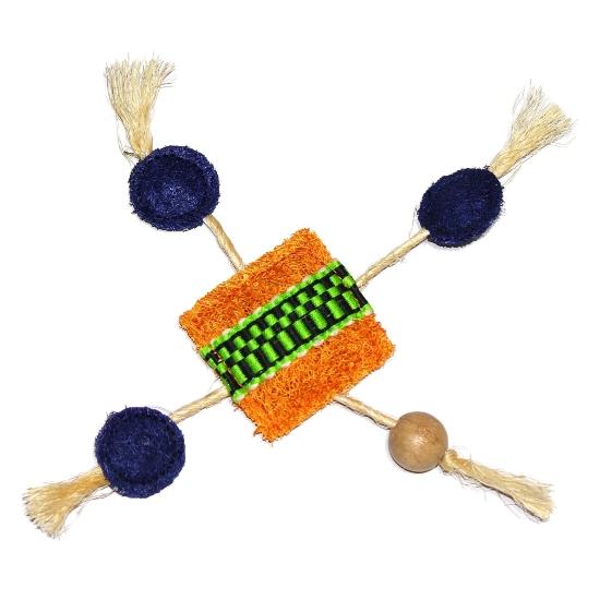 Eco-Loofah Ethnic Maka Talisman Frisbee Cat Toy, Orange